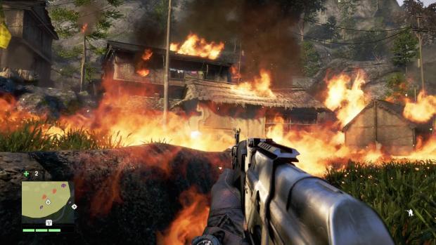 Die Schergen von Pagan Min brennen eine Siedlung der Rebellen nieder. (Screenshot: Golem.de)