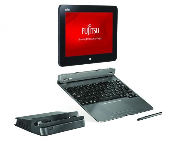 Das Q555 mit Dock und Tastatur (Bild: Fujitsu)