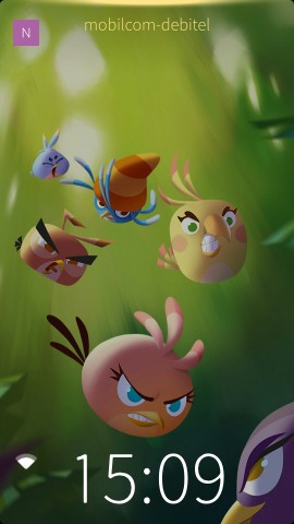 Der Sperrbildschirm des Angry Birds Stella Launchers, Jollas in Zusammenarbeit mit Rovio entstandener Sailfish-OS-Launcher für Android-Smartphones (Screenshot: Golem.de)