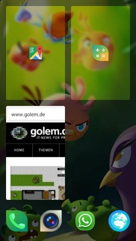 Wie beim Jolla-Smartphone werden aktuell genutzte Apps auf dem Hauptbildschirm als kleine Fenster abgelegt. (Screenshot: Golem.de)