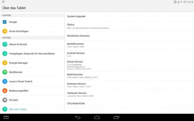 Lenovo liefert das Yoga Tablet 2 mit Android 4.4.2 aus. (Screenshot: Golem.de)