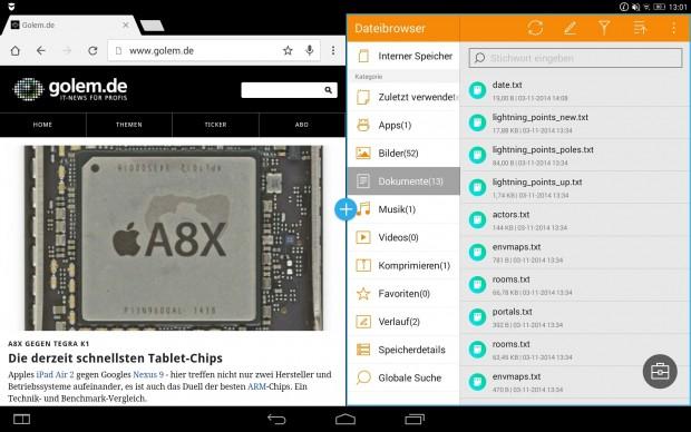 Browser und Dateimanager im Mehrfenster-Betrieb (Screenshot: Golem.de)