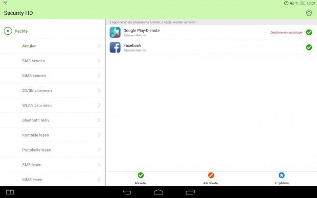 Über Lenovos Securiy-HD-App lassen sich die Rechte einzelner Apps nachträglich ändern. (Screenshot: Golem.de)