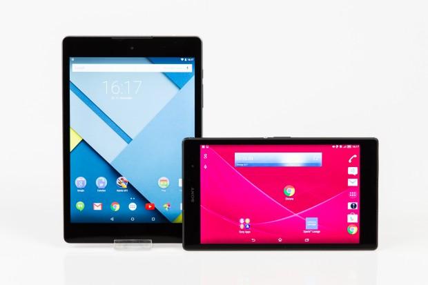 Das Nexus 9, links im Bild, und das Xperia Z3 Tablet Compact (Bild: Tobias Költzsch/Golem.de)
