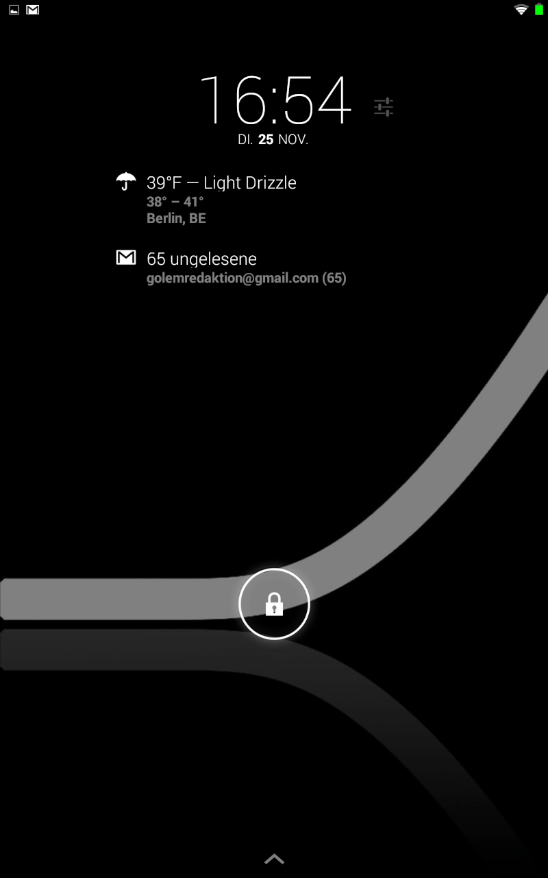 ROM-Ecke: Slimkat - viele Einstellungen und viel Schwarz - Bei Slimkat ist die Sperrbildschirm-Erweiterung Dashclock vorinstalliert. (Screenshot: Golem.de)