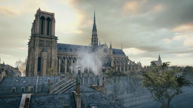 Assassin's Creed Unity zeigt in der Distanz wenig Polygone und matschige Texturen. (Screenshot: Golem.de)