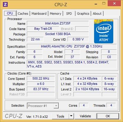 In der Zbox Pico steckt ein Atom Z3735F (Screenshot: Golem.de)