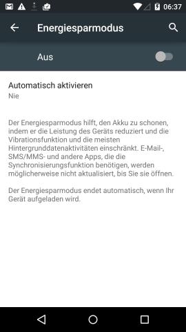 Der neue Energiesparmodus in Android 5.0