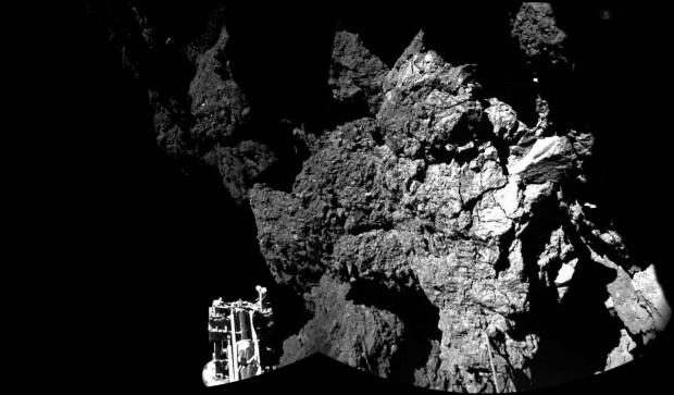 Das erste Bild von Philae auf dem Kometen Tschurjumow-Gerasimenko. Es ist Teil ... (Foto: Esa/Rosetta/Philae/CIVA)
