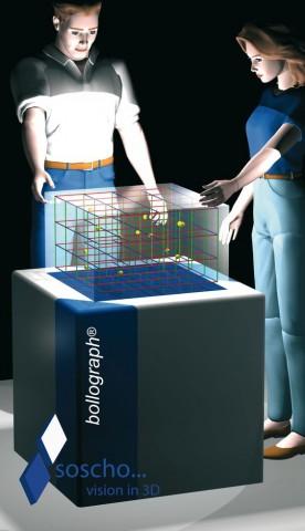 Das Prinzip eines volumetrischen Displays: Es stellt ein 3D-Bild dar, um das die Nutzer herumgehen können. (Grafik: Angelika Stalinski/Soscho)