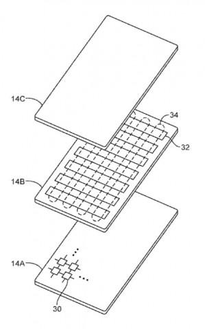 Apples Patentantrag 111164 beschreibt ein Display mit fühlbaren Erhebungen und nachgebender Oberfläche.