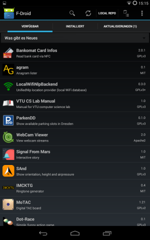 Apps besorgt man sich am besten in alternativen App-Shops wie F-Droid ...