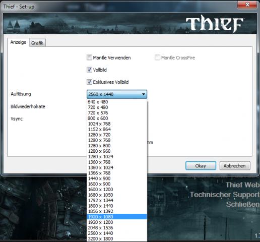 In den Menüs von Spielen tauchen die neuen Auflösungen auf. (Screenshot: Golem.de)
