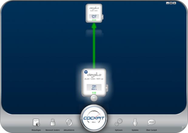 Die Devolo-Software zeigt die Link-Geschwindigkeit an. (Screenshot: Golem.de)