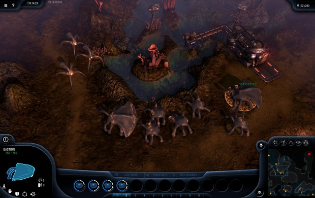 Eine Gruppe transformierter Goo sichert die Passage, die Sterne auf der Map sind Epic-Einheiten. (Screenshot: Golem.de)