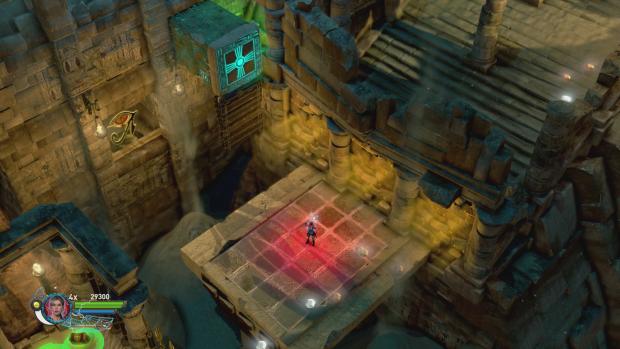 Aus der Falle muss sich Lara schnell befreien - die Plattform unter ihr verschwindet ... (Screenshot: Golem.de)