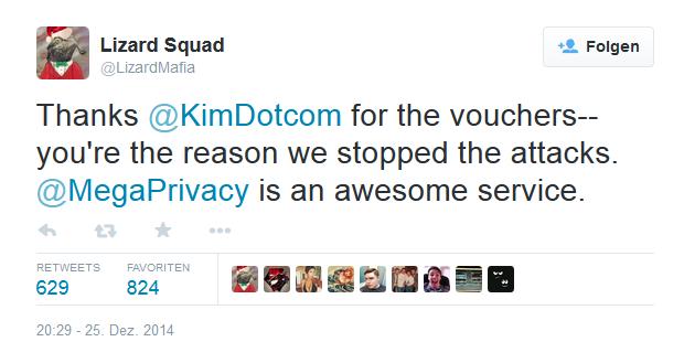 Lizard Squad dankt Kim Dotcom... (Bild: Lizard Squad via Twitter)