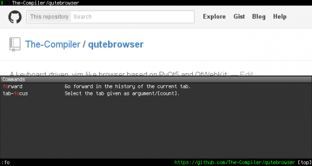 Qutebrowser (Screenshot: Qutebrowser-Projekt)