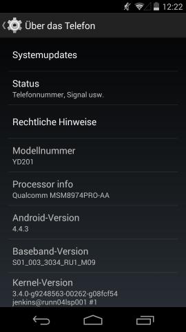 Auf dem Yotaphone 2 läuft Android 4.4.3. (Screenshot: Golem.de)