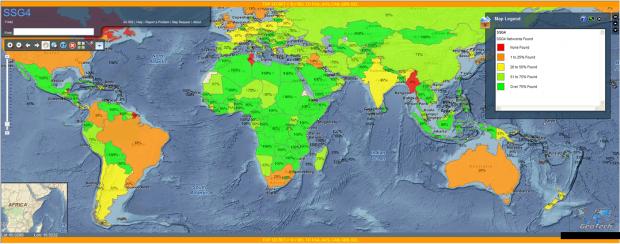 Die Karte der NSA zeigt, in welchen Ländern sich der Geheimdienst Zugang zu Mobilfunknetzwerken verschafft hat, (Bild: NSA/The Intercept)