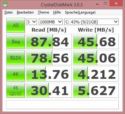 Die eMMC des Asus Eeebook X205TA ist sehr langsam (Bild: Martin Wolf/Golem.de)