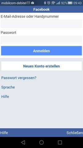 Bereits beim Login-Bildschirm ist erkennbar, dass Facebook Lite äußerlich deutlich abgespeckter daherkommt als die normale Facebook-App. (Screenshot: Golem.de)