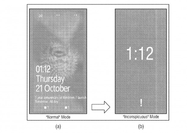 "Microsoft-Patent ""Inconspicuous Mode for Mobile Devices"" (Bild: USPTO)"