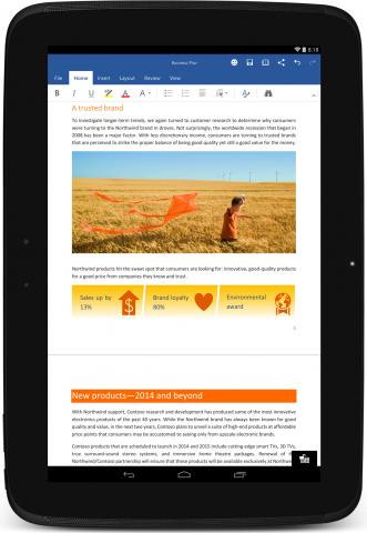 Microsoft Word für Android (Bild: Microsoft)