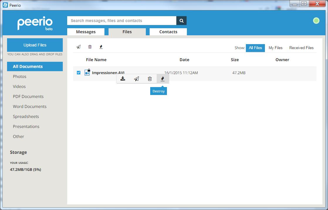 Peerio ausprobiert: Textnachrichten und Dateiübertragung mit Einmalschlüsseln - Die Dateiverwaltung von Peerio (Screenshot: Golem.de)