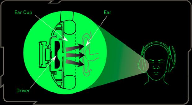 Für HRTF sollte die Kopfhörermuschel sehr gut auf dem Ohr sitzen (Bild: Razer)