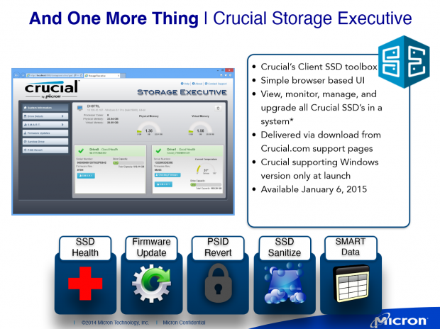 Funktionen des neuen Programms Storage Executive. (Folien: Micron)