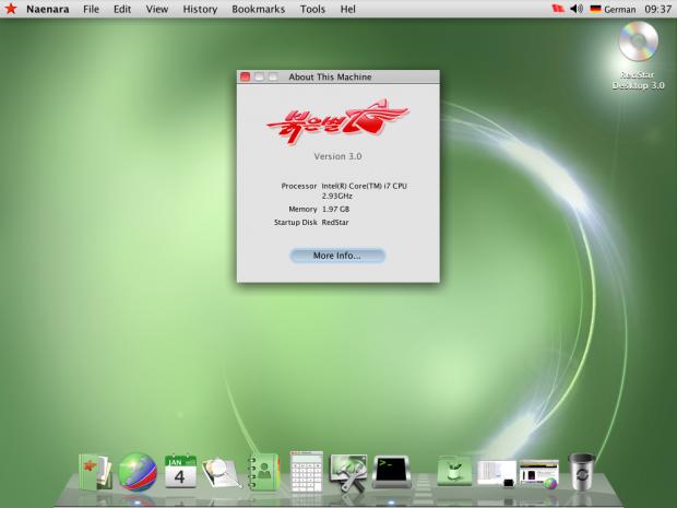 Das auf Linux basierende Red Star OS 3.0 stammt aus Nordkorea. (Screenshot: Golem.de)