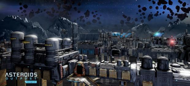 Konzeptgrafik von Asteroids Outpost (Bild: Atari)