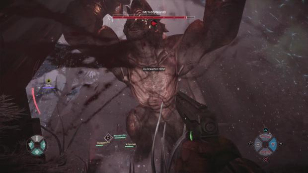 Aus Sicht des Spielers wirkt das Monster fast turmhoch. (Screenshot: Golem.de)