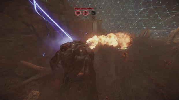 Dank der Arena-Fähigkeit des Jägers kann das Monster nicht flüchten. (Screenshot: Golem.de)