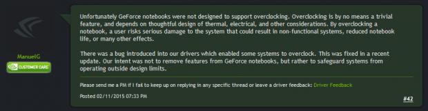 Nvidia sagt, Notebooks mit GTX 900M seinen nicht für OC gedacht (Screenshot: Golem.de)