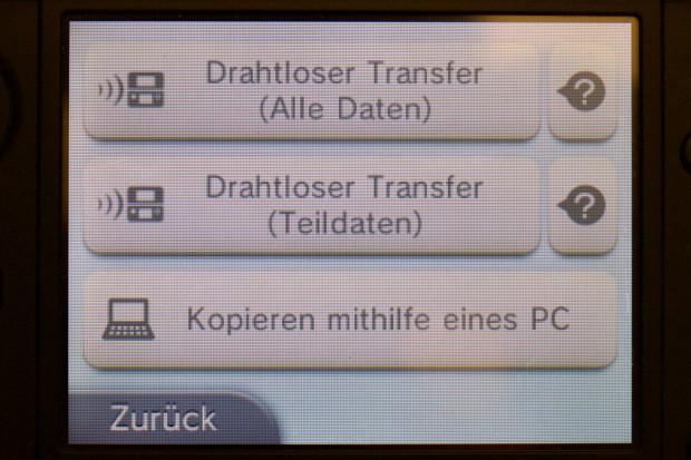 Die Optionen für das Übertragen von Systemdaten