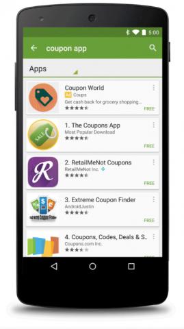 Play-Store-Suche mit Werbeeinblendungen (Bild: Google)