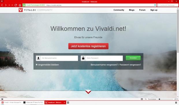 Vivaldi.Net im Vivaldi-Browser geöffnet (Screenshot: Golem.de)