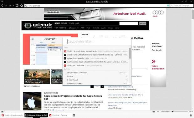 Vivaldis Kurzbefehl-Übersicht (Screenshot: Golem.de)