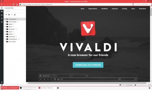 Vivaldi mit geöffnetem Lesezeichen-Paneel (Screenshot: Golem.de)