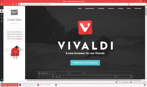 E-Mail-Funktionen werden direkt in Vivaldi integriert. (Screenshot: Golem.de)