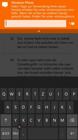 Nachrichten können direkt aus der Heads-Up-Benachrichtigung beantwortet werden - aktuell funktioniert das nur bei SMS. (Screenshot: Golem.de)