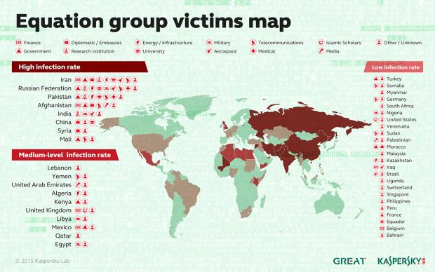 Die Weltkarte zeigt die Verbreitung der Malware der Equation Group.
