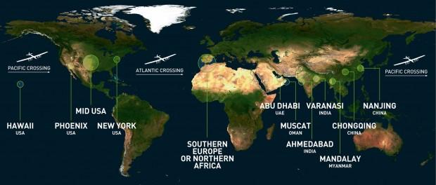 In 12 Etappen um die Welt: die Route der Solarflieger. (Bild: Solar Impulse)