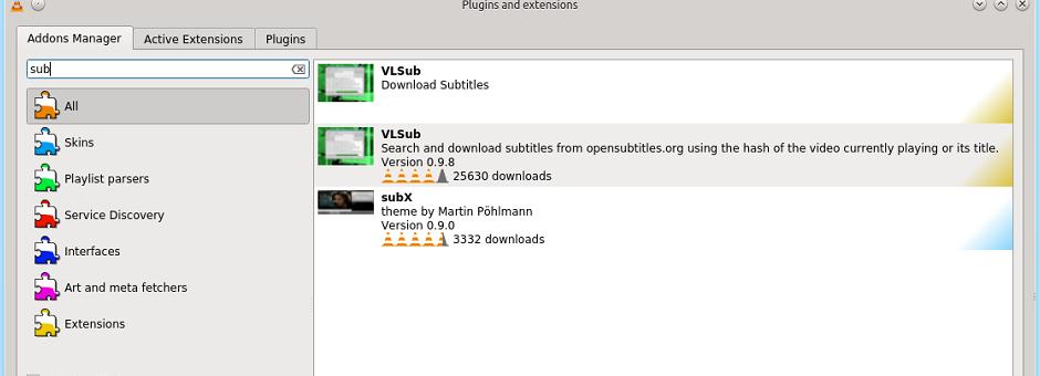 VLC-Player 2.2.0: Rotation, Addons-Verwaltung und digitale Kinofilme - Die Addons-Verwaltung ist leicht erreichbar.