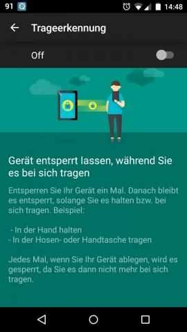 Die neue Trage-Erkennung deaktiviert die Passwortabfrage, solange der Nutzer das Gerät bei sich trägt. (Screenshot: Golem.de)