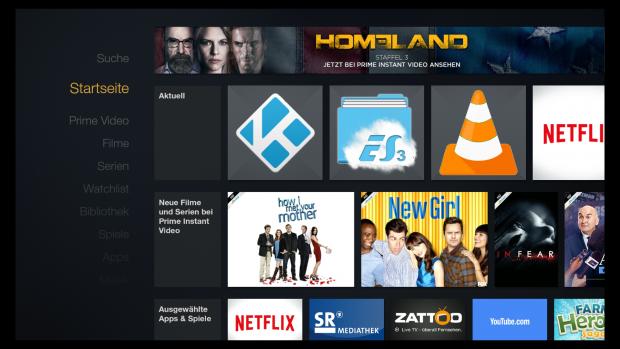 Startbildschirm des Fire TV mit der Firmware 51.1.5.0 (Screenshot: Golem.de)