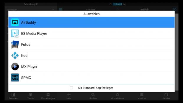 Im ES File Explorer kann der Nutzer bequem auswählen, mit welchem Player er das Video abspielen möchte. (Screenshot: Golem.de)