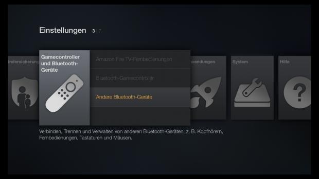Fire TV erlaubt den Anschluss von weiteren Bluetooth-Geräten. (Screenshot: Golem.de)
